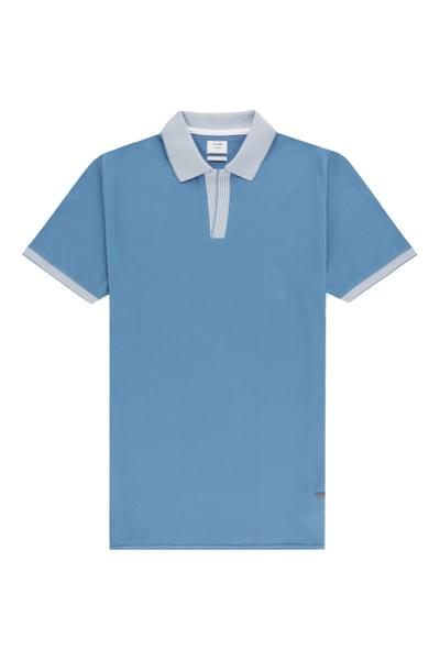 Steve polo with tipped details Blue