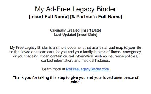My Ad-Free Legacy Binder
