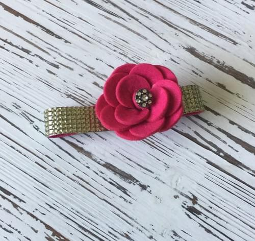 Hot Pink Flower Bling Collar