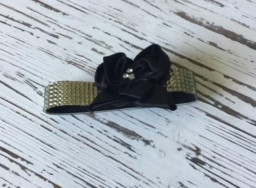 Black Bow Bling Collar