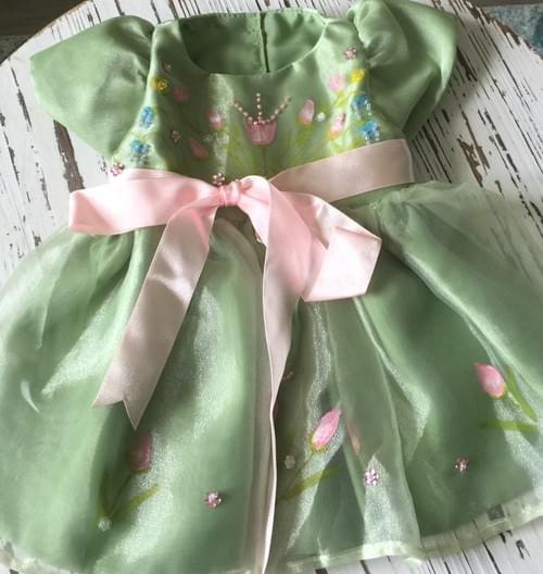 TONI MARI HAND PAINTED FLOWER DRESS GREEN M