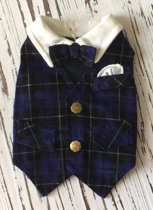 RUFF RUFF COUTURE NYKEE NAVY PLAID VEST WITH GOLD BUTTONS  XS
