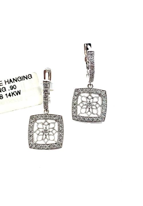 Square Filagree Diamond Earrings