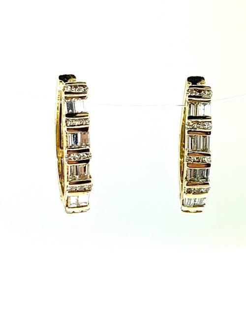 Baguette DIamond Huggie Earrings
