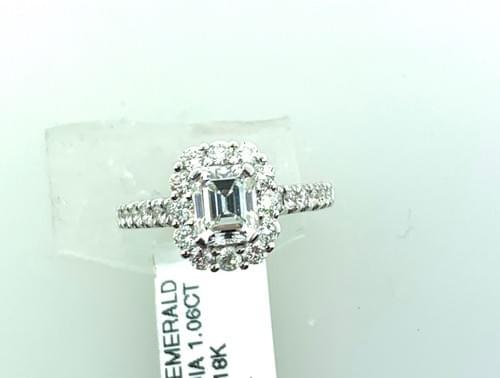 Halo Emerald Cut Diamond Ring