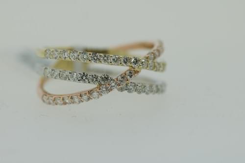 Tri-Color Diamond Crossover Ring