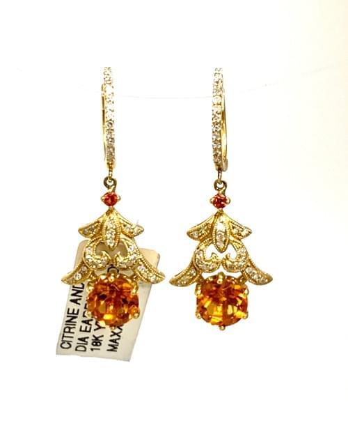 Vintage Style Citrine Earrings