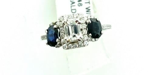 Emerald Cut and Blue Sapphire Ring
