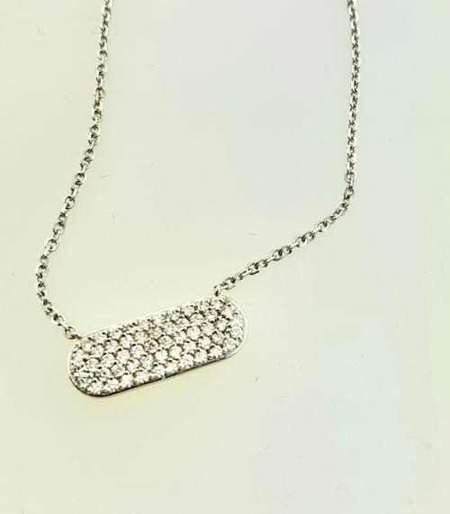 Diamond Encrusted Oval Necklace