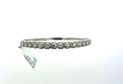Diamond Bangle Bracelet Mil-grain halo
