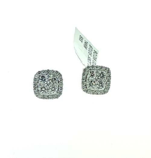 Square Diamond Cluster Studs