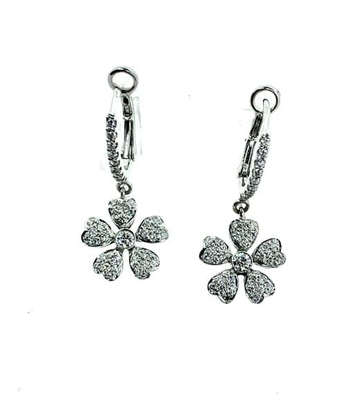 Dangling Diamond Flower Earrings