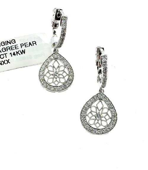 Filigree Pear Shape Hanging Earring