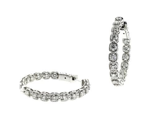 Mil-Grain Style Diamond Hoops