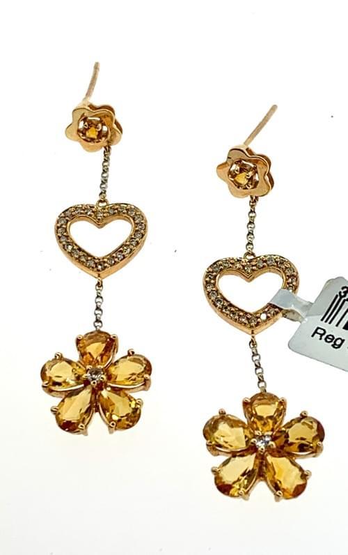 Citrine Heart and Flower Earring