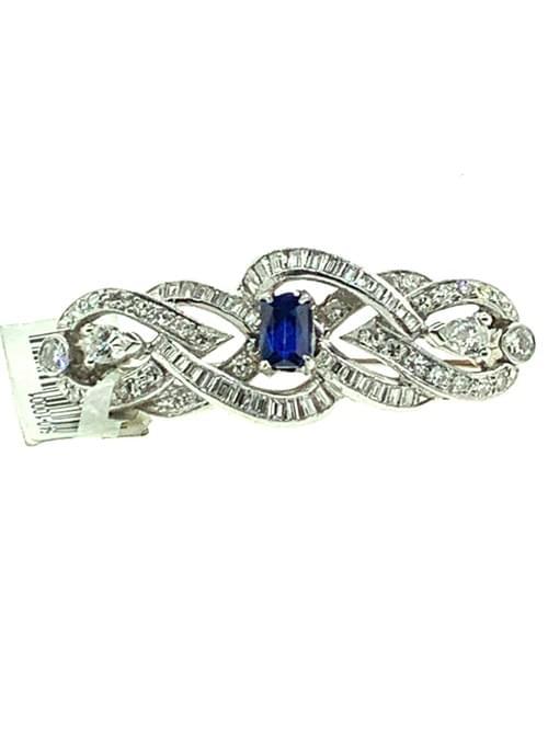 Platinum Sapphire Brooch