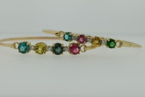 Colored Stone and Diamond Bangle