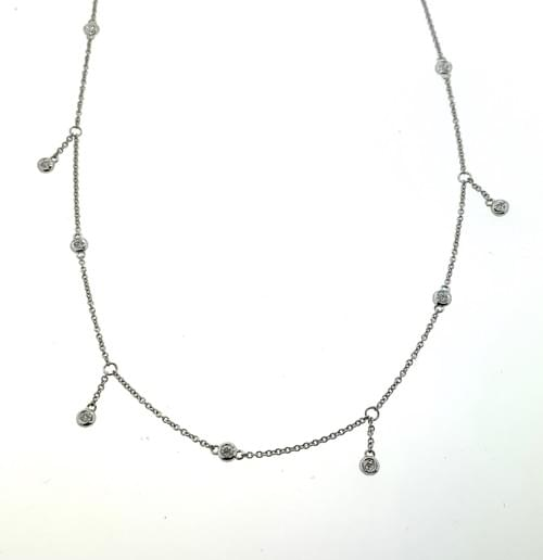 Diamond Bezel Dangling Necklace