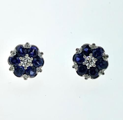 Blue Sapphire and Diamond Cluster Studs