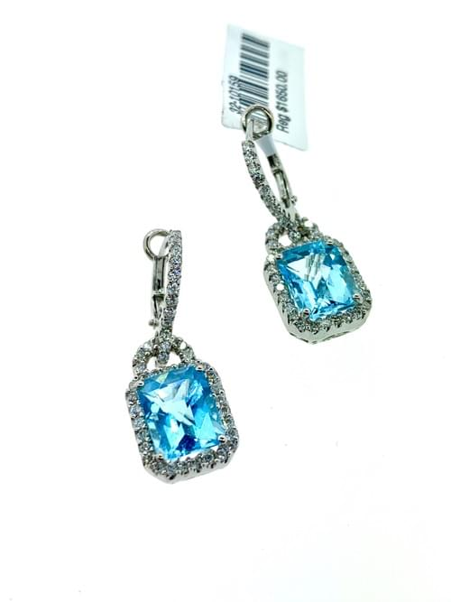 Large Blue Topaz Earrings