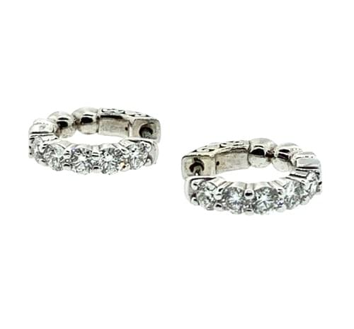 Large Diamond Huggie Earrings