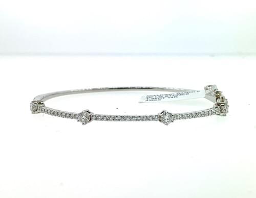 Straight Diamond Bangle w/ Larger Stones