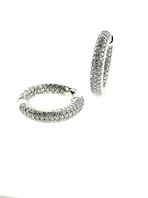 Pave Style Diamond Hoops