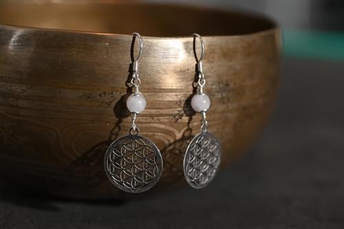 Boucle d'oreille fleur de vie Argent - YQUEME CREATION