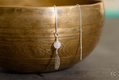 Boucles d'oreilles pendantes plume - YQUEME CREATION
