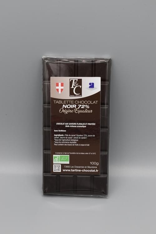 Tablette chocolat noir Equateur 72 % bio - TARTINE CHOCOLAT
