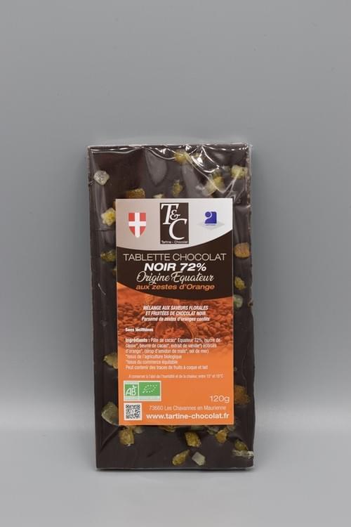 Tablette chocolat noir zestes d'orange 72 % bio - TARTINE CHOCOLAT