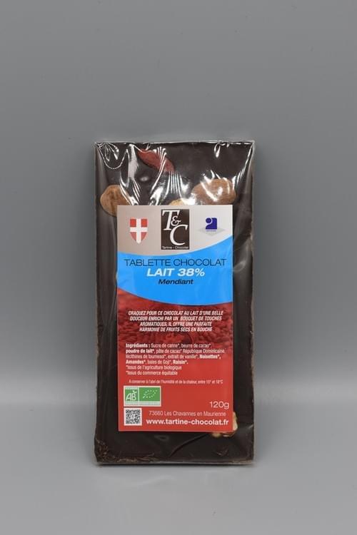 Tablette chocolat mendiant lait 38 % bio - TARTINE CHOCOLAT