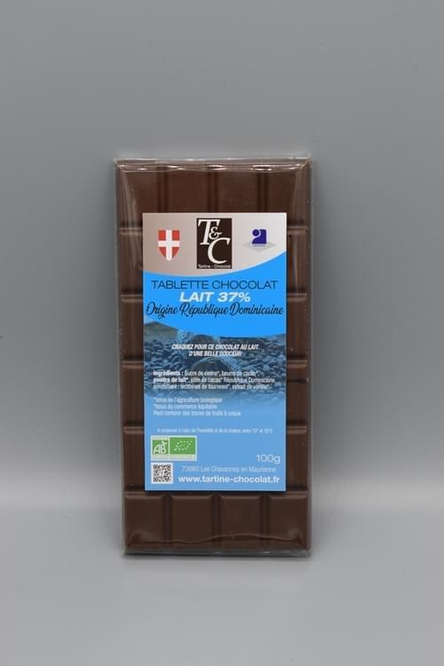 Tablette chocolat lait 37 % bio - TARTINE CHOCOLAT