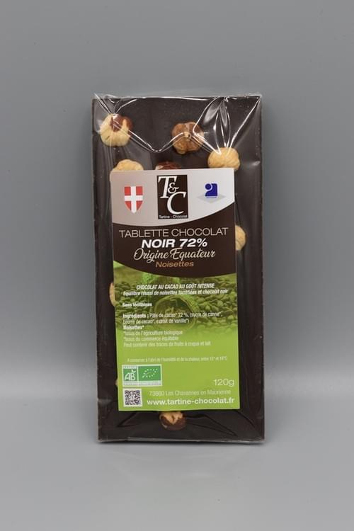 Tablette chocolat noir noisette 72 % bio - TARTINE CHOCOLAT