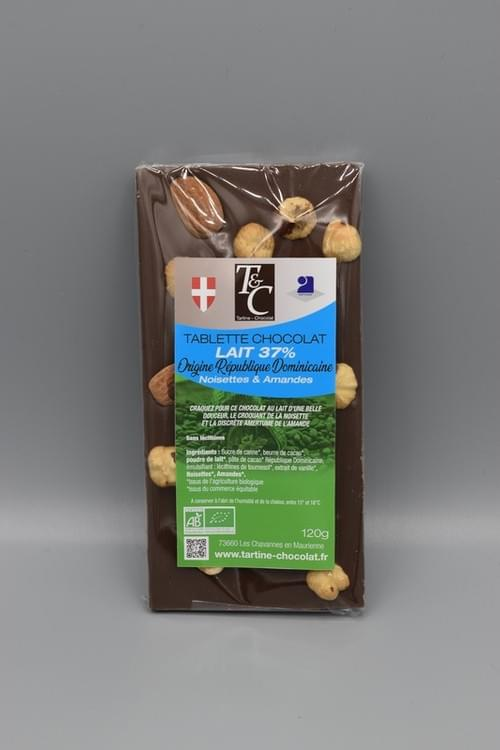 Tablette chocolat noisettes amandes lait 37 % bio - TARTINE CHOCOLAT