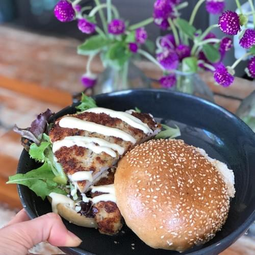 QUINOA HERB CRUSTED CHICKEN SCHNITZEL BURGER - GF OPTION