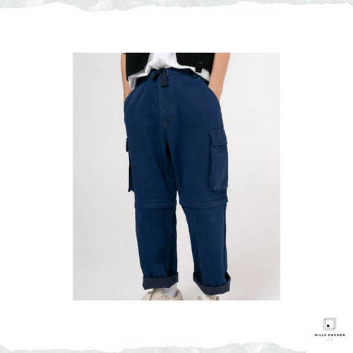 PRTH潮流可拆卸直筒工裝牛仔褲