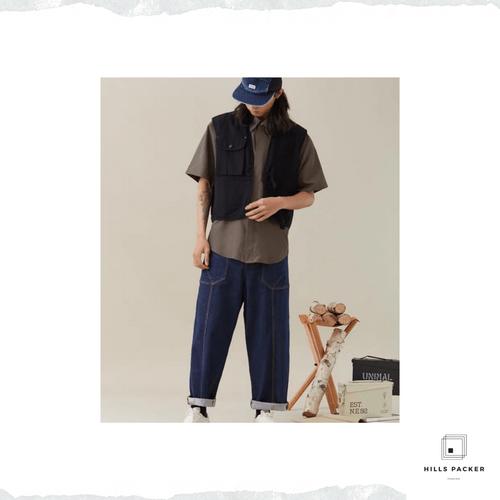 PRTH不脫色牛仔寬鬆直筒褲