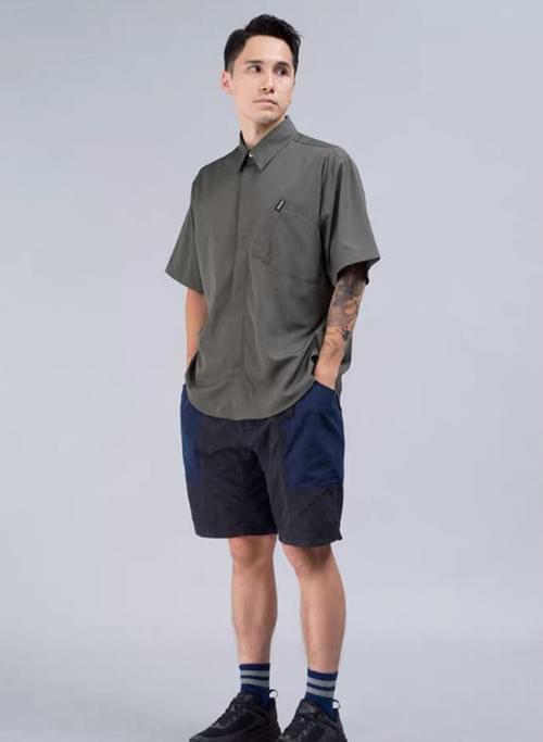 PRTH 雙色拼接大口袋寬鬆短褲
