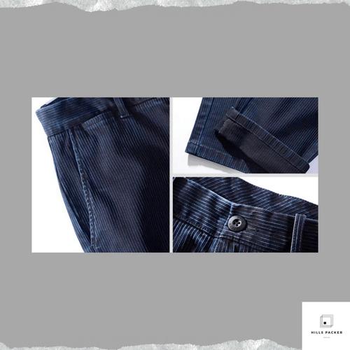 PRTH 簡約修身藍色條紋牛仔褲