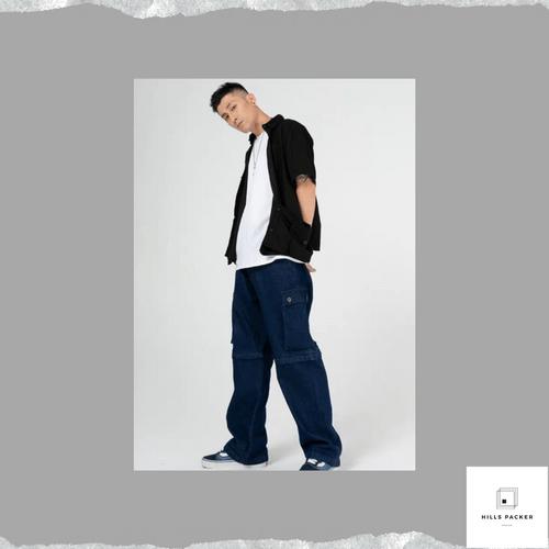 PRTH潮版可拆卸直筒牛仔褲