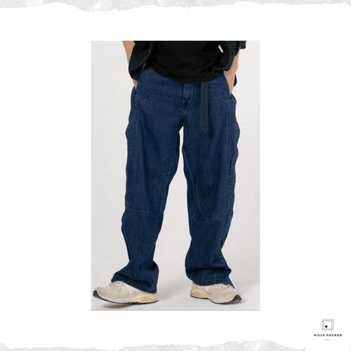 PRTH 環保藍染魔術貼直筒工裝褲