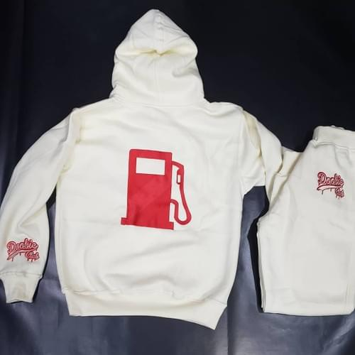 CREAM AND RED SWEAT SUIT