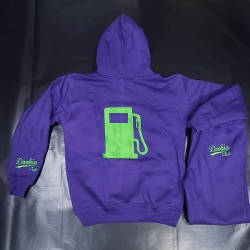 PURPLE AND GREEN SWEAT SUIT