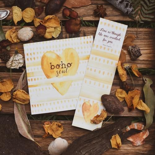 Boho soul card + bookmark