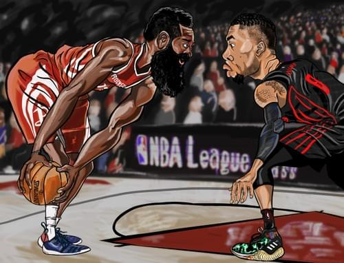 James Harden sizes up Damian Lillard - Print