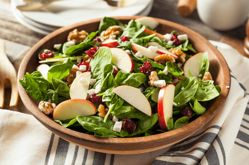Apple Walnut Cranberry Salad w/ Cheddar Cheese + Walnut Vinaigrette