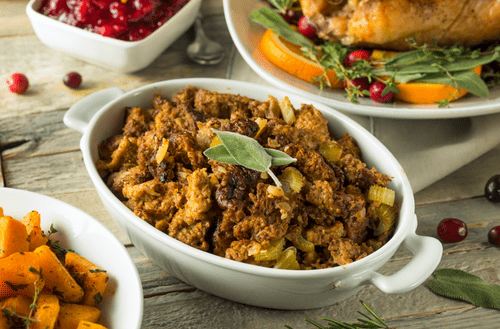 Cornbread Stuffing with Fresh + Dried Fruit