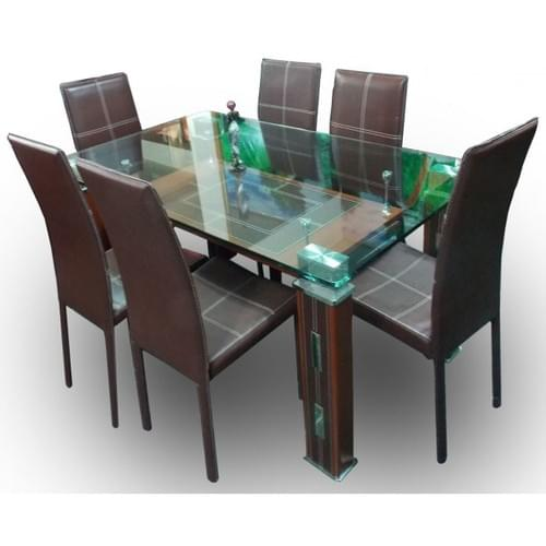 High Standard Glass dining table plus 6 Leather chairs