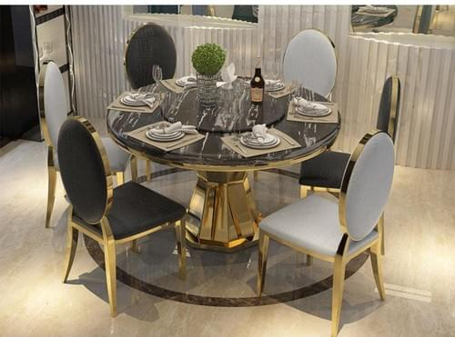 Marble Top Dining Table - Grandeur, 6 luxury chairs